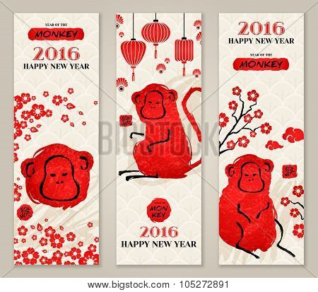 Vertical Banners Set with Hand Drawn Chinese New Year Monkeys.