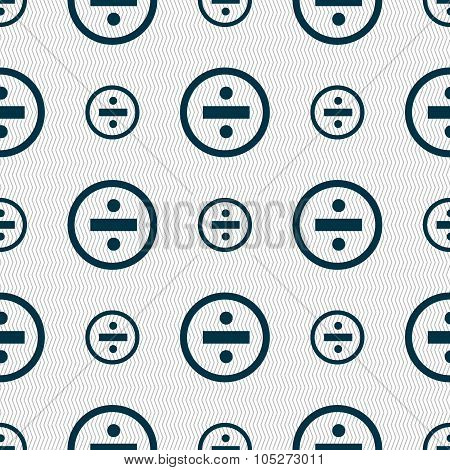 Dividing Icon Sign. Seamless Abstract Background With Geometric Shapes. Vector