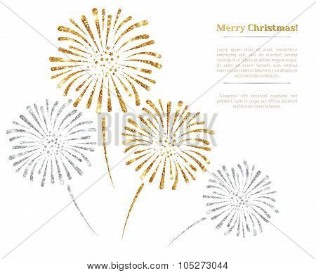 Vector gold and silver fireworks on white background.