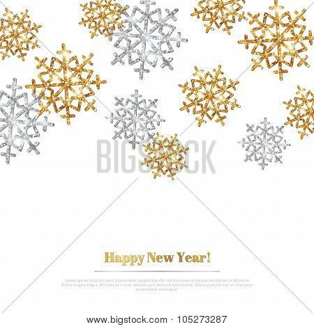 Merry Christmas Background with Gold and Silver Snowflakes.