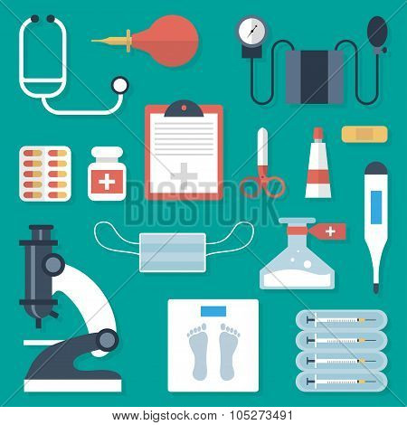 Medical Supplies Set In A Flat Style