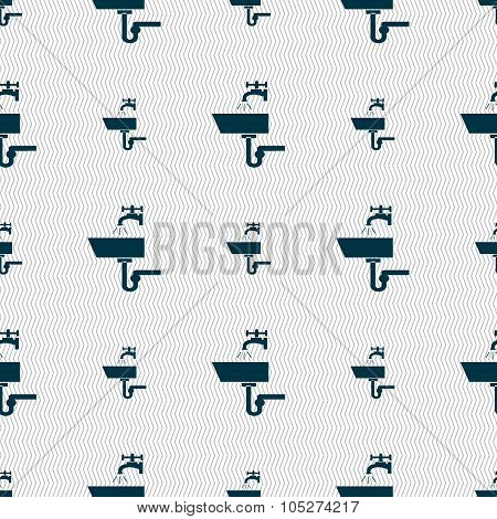 Washbasin Icon Sign. Seamless Abstract Background With Geometric Shapes.