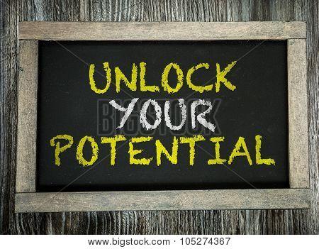 Unlock Your Potential written on chalkboard