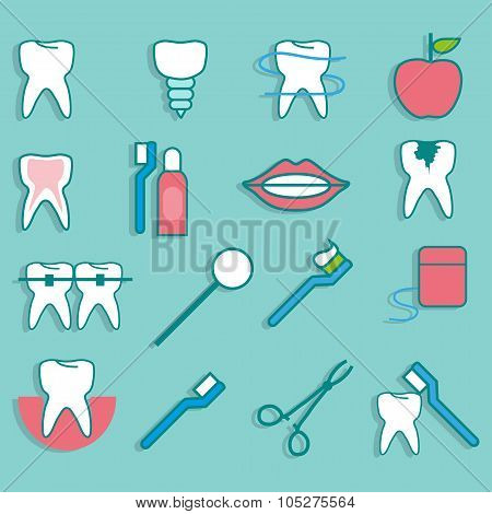 Set With Objects Dentistry In A Flat Style