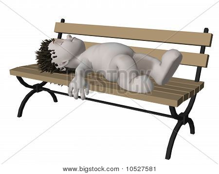 Boris 3D Character Sleeping On Park Bench