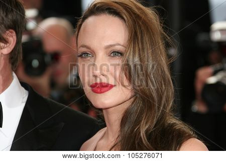 CANNES, FRANCE - MAY 20: Actress Angelina Jolie attends the 'Inglourious Basterds' Premiere at the Grand Theatre Lumiere during the 62nd Annual Cannes Film Festival on May 20, 2009 in Cannes, France.
