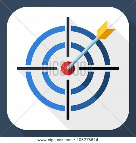 Target Icon With Dart And Long Shadow
