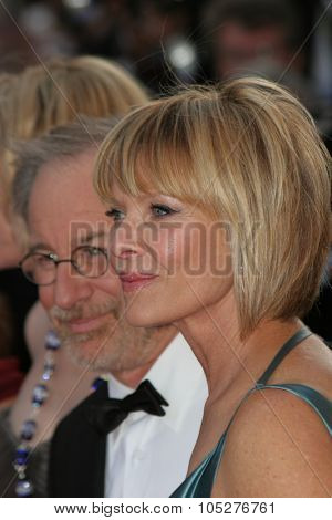 CANNES - MAY 14:Director Steven Spielberg  and wife Kate Capshaw attend the Indiana Jones  premiere at the Palais des Festivals during the 61st Cannes Film Festival on May 18, 2008 in Cannes