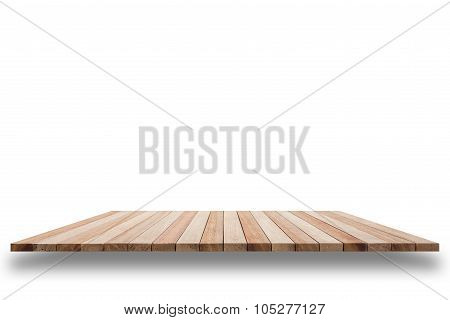 Empty Top Of Wooden Shelf Or Counter Isolated On White Background