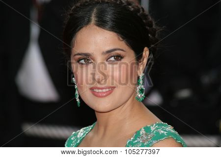 CANNES, FRANCE - MAY 18: Actress Salma Hayek attends the Indiana Jones  premiere at the Palais des Festivals during the 61st Cannes International Film Festival on May 18, 2008 in Cannes, France