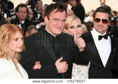 CANNES, FRANCE - MAY 20: Diane Kruger, Brad Pitt, Quentin Tarantino and Melanie Laurent attend the Inglourious Basterds  during the 62nd  Cannes Film Festival on May 20, 2009 in Cannes, France