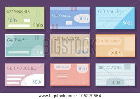 Set With Different Versions Of The Voucher In Flat Style