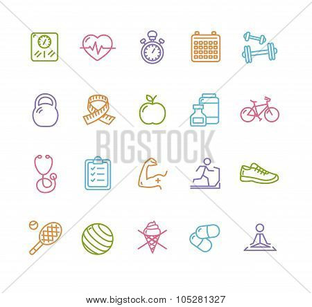 Fitness Health Colorful Outline Icon Set. Vector