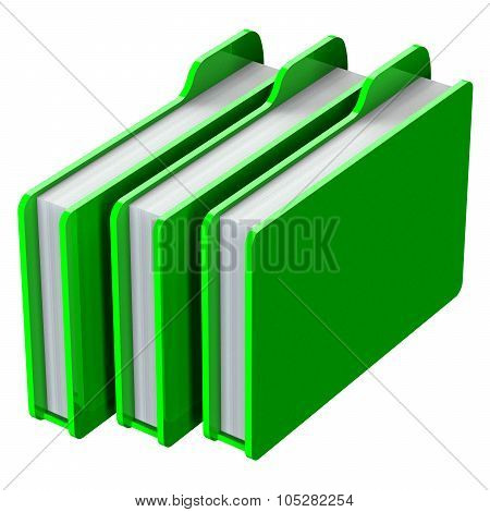 Green Folders Isolated On White Background