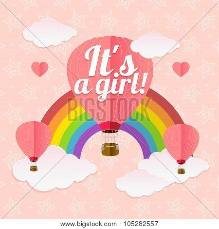 Girl Card. Vector