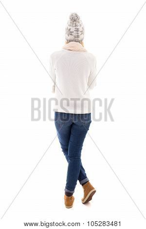 Back View Of Beautiful Woman In Winter Clothes Isolated On White