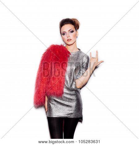 Fashion Beauty Woman Portrait. Stylish Haircut And Makeup