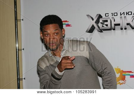 MOSCOW - JUNE 19: Will Smith burst into laughter before holding a press conference , prior to the Russian premiere of  'Hancock' on XXX Moscow  film festival  on June 19, 2008 in Moscow, Russia.
