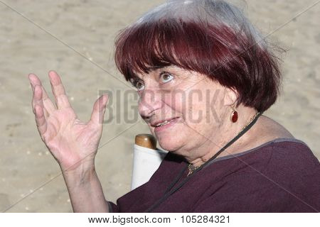 VENICE, ITALY - SEPTEMBER 03: Director Agnes Varda poses on the beach ,Venice promoting her  film 'The Beaches of Agnes' during the 65th Venice Film Festival on Sept. 3, 2008 in Venice, Italy.