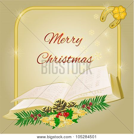 Merry Christmas  Frame With Book Vector