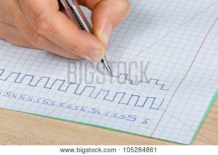 Hand Writing In Copy-book, Closeup