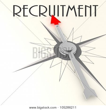 Compass With Recruitment Word