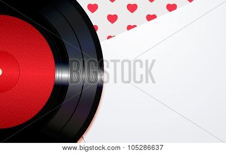 Background with hearts and a disc