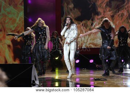 KIEV, UKRAINE - SEPT. 23: Winner Eurovision singer Ruslana arrives at the opening , at the Opera Theatre 40th Film Festival