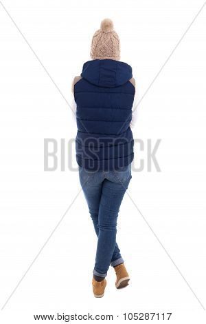 Rear View Of Beautiful Blond Woman In Warm Clothes Posing Isolated On White