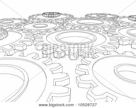 Vector Render Of Cogs/ Gears Integrating