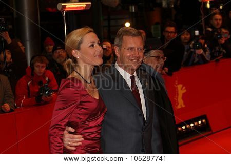 BERLIN, GERMANY - FEBRUARY 13: German President Christian Wulff and his wife Bettina  attend the 'Pina' Premiere during of the 61st Berlin Film Festival at  Palace on February 13, 2011 in Berlin, Germany.