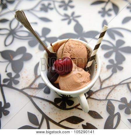 Chocolate icecreams with cherry on top
