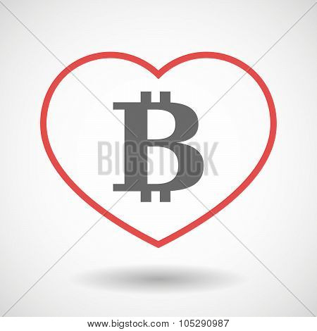 Line Heart Icon With A Bit Coin Sign