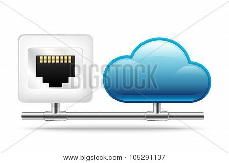 Connection To The Cloud. Vector Icon