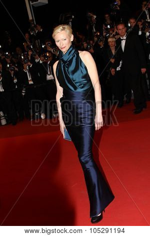CANNES, FRANCE - MAY 12: Actress Tilda Swinton attends the 'We Need To Talk About Kevin' Premiere during the 64th Cannes Film Festival at the Palais des Festivals on May 12, 2011 in Cannes, France