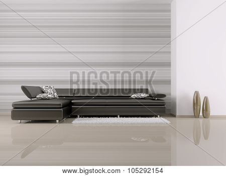 Interior Of Room With Sofa 3D Rendering