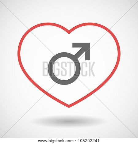 Line Heart Icon With A Male Sign
