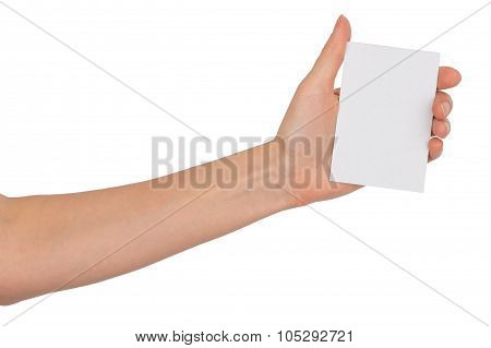 Humans left hand with blank card