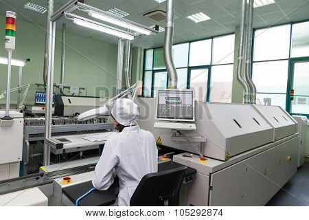Production of electronic components  at high-tech factory