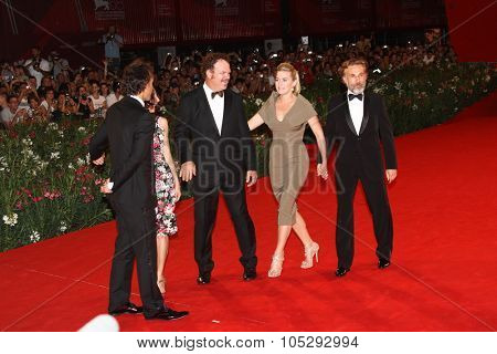 VENICE, ITALY - SEPTEMBER 01:   John C. Reilly, Kate Winslet and Christoph Waltz attends the premiere of 'Carnage' during the  Venice Festival at Sala Grande on September 1, 2011 in Venice, Italy.