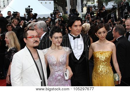 CANNES, FRANCE - MAY 17: Hao Lei and Yang Mi attend the 'De Rouille et D'os' Premiere during the 65th Annual Cannes Film Festival at Palais des Festivals on May 17, 2012 in Cannes, France.