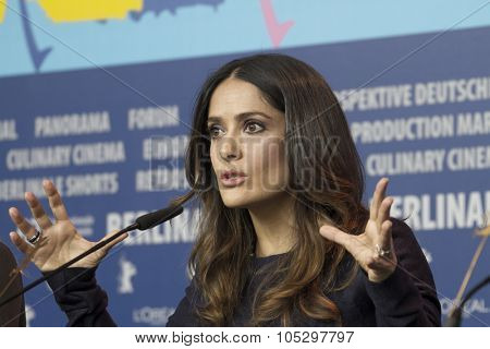 BERLIN, GERMANY - FEBRUARY 15: Salma Hayek attends the 'La Chispa De La Vida'  Press Conference during of the 62 Berlin Film Festival at the Grand Hyatt on February 15, 2012 in Berlin, Germany.