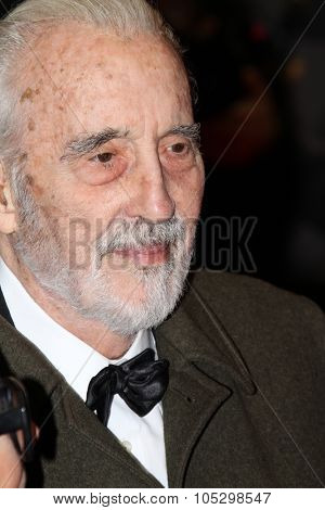 BERLIN, GERMANY - FEBRUARY 13: Christopher Lee attend the 'Night Train to Lisbon' Premiere during the Berlinale Festival at the Palast on February 13, 2013 in Berlin, Germany.