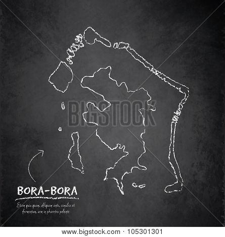 Bora-Bora map blackboard chalkboard vector french polynesia