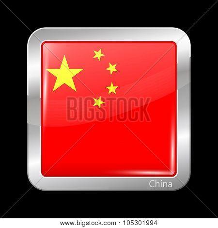 Flag Of China. Metalic Icon Square Shape