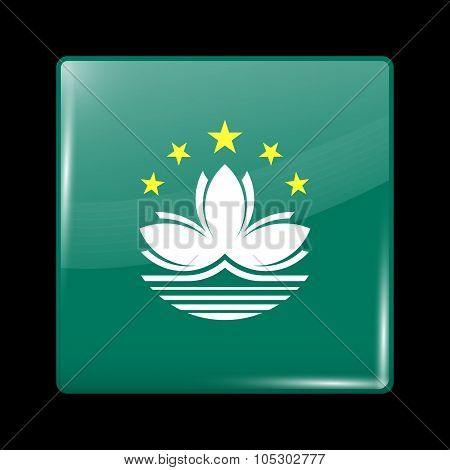 China Flag Of Macau. Glassy Icon Square Shape