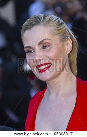 CANNES, FRANCE - MAY 25: Emmanuelle Seigner arrives at 'Venus In Fur' Premiere during the 66th Annual Cannes Film Festival at Grand Theatre Lumiere on May 25, 2013 in Cannes, France.