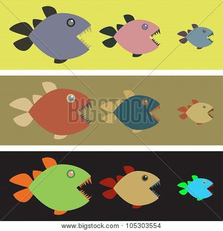 Background with colored piranhas