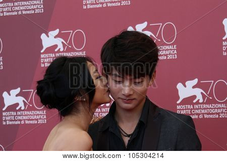 VENICE, ITALY - SEPTEMBER 03:  Haruma Miura, Lee Eun-woo attend 'Harlock: Space Pirate' Photocall during the 70th Venice Film Festival at Palazzo del Casino on September 3, 2013 in Venice, Italy.