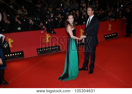 BERLIN, GERMANY - FEBRUARY 06: Shauna Robertson and Edward Norton  attend 'The Grand Budapest Hotel' Premiere during the 64th Berlinale Film Festival at Palast on February 6, 2014 in Berlin, Germany
